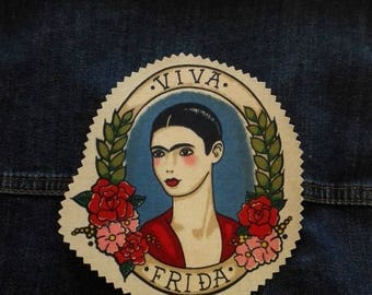 """Patch """"Viva Frida"""" taupe patch fusible to customize your clothes tattoo old school Frida Kahlo Alexander Henry"""