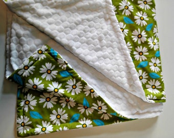 """""""Green Daisy"""" blanket blanket with soft minky micro-printed corduroy of pure cotton perfect gift children baby crib bedding"""