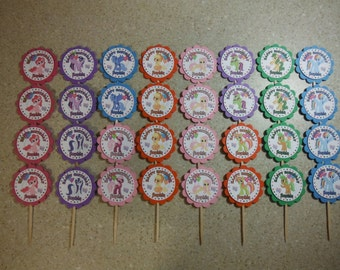 32 My Little Pony Cupcake Toppers PERSONALIZED - Picks Party Favors