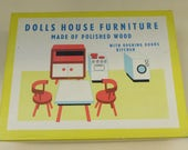 Fabulous Vintage Tofa of Czechoslovakia Wooden Dolls House Furniture  Boxed Kitchen Set