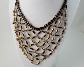 Vintage Black Faceted Baguette Stone Rosette Bib Necklace