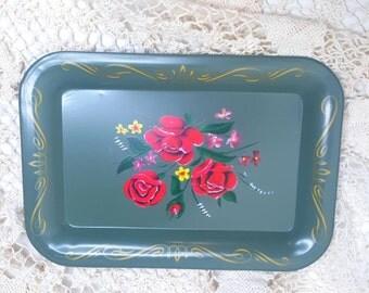 Vintage Mid Century Green Mini Metal Decorative Tip Tray