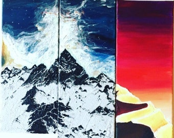 Special mountains and desert paintings, ice and fire paintings, glows in darkness