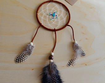"Traditional Style Dream Catcher//Stone Beads//5"" Dreamcatcher//Boho Artwork//Modern Wall Decor"