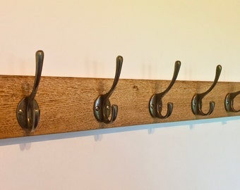 Vintage Oak Coat Rack - Wooden Coat Rack - Choice of Finish - Cast Iron Hooks