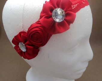 Bandita for baby red.  Heandband red baby girls. Flower. Hair accessory. Hair Accessories.Hair Bow.