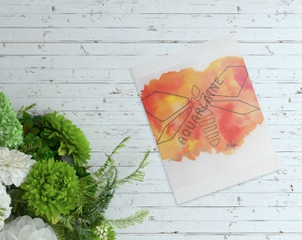 Orange Dragonfly, Original watercolor geometric syle, DOWNLOAD