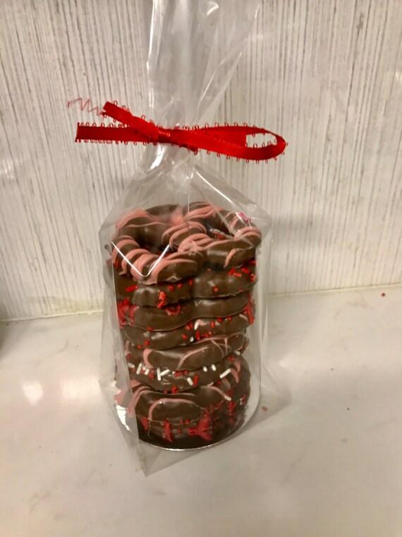Valentine's Day Chocolate Covered Pretzel gift - 8 pretzels