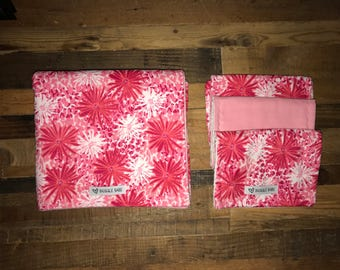 Pink Floral Double Sided Flannel Blanket and optional Burp Cloth Set