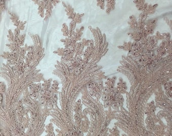 Blush Pink Charming Design Embroider And Beaded On A Designed Mesh-prom-by yard