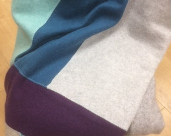 Upcycled 100% cashmere baby blanket made in a patchwork style