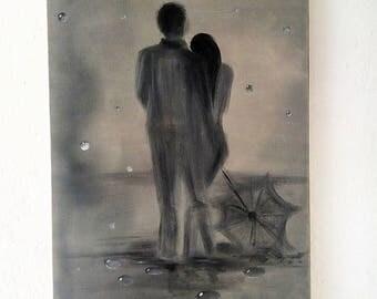 Rain Love, Loved in the Rain, Loved Couple, Love Landscape, Umbrella Paint, Rain Landscape, Couple in Rain Oil Painting, Abstract Rain Paint