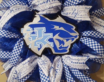 University of Kentucky wreath, UK wreath, UK wildcats wreath, sports team wreath, college wreath , uk door hanger, fathers day gift