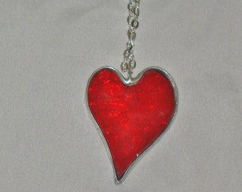 Red Stained Glass Heart Necklace