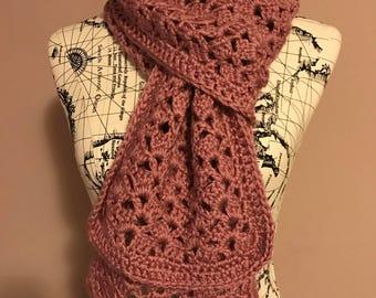 Crochet scarf, spring scarf, dusty rose crochet scarf