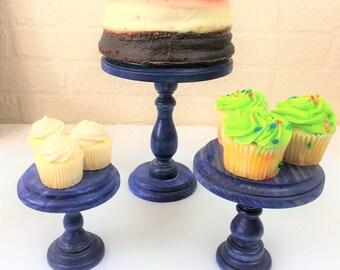 Set of 3 True Blue Cupcake Stands Display Risers Pedestals