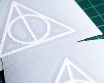 2 x Deathly Hallows Symbol - Vinyl Decal (Sticker) - For Phone Cases, Laptops, etc. (CHROME OPTION)