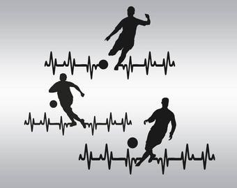 Heartbeat soccer boy SVG Clipart Cut Files Silhouette Cameo Svg for Cricut and Vinyl File cutting Digital cuts file DXF Png Pdf Eps