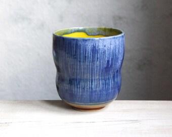 tea cup, coffee cup, modern, unique pottery, handmade ceramics, texture, dark blue, unique ceramic gift, designer ceramics