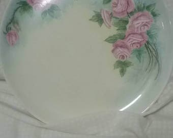 Vintage Plate | Hand Painted | Rose Painted Plate | Antique Dishes | 1950's Decor