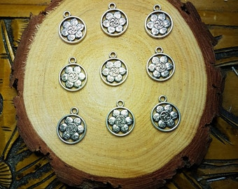 Silver Flower Mandala Charms