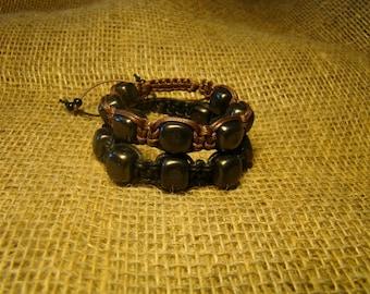 "Shungite set Bracelet ""Shambala"" 2 pieces of squares of Karelia."