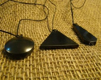 Shungite Set of 3 pendants from Karelia.