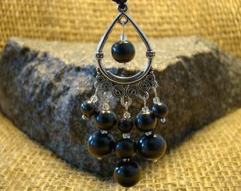 Shungite pendant with shungite beads from Karelia.