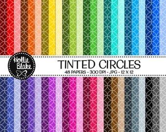 Buy 1 Get 1 Free!! 48 Tinted Circles Digital Paper • Rainbow Digital Paper • Commercial Use • Instant Download • #CIRCLES-102-2-TINT