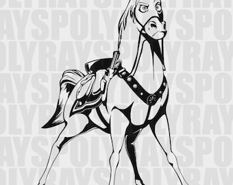 Tangled Horse Maximus SVG, Maximus PNG, EPS, Horse Stencil, Tangled Vector Files, Tangled Clipart