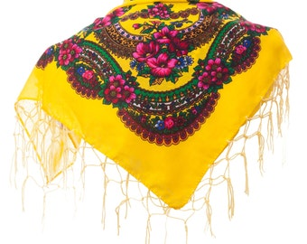 YELLOW folk SCARF shawl with flowers and fringes POLAND scarves fashion colors