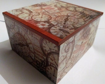 Steam Punk Trinket Box - Steam Punk Jewelery Box - Decoupage Trinket Box