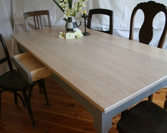 "modern farmhouse table ""Isegrimm"" oak, vintage white"