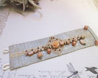 Silver linen precious Cuff Bracelet