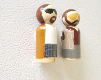 Dude and Walter magnet, Peg doll magnet, fridge magnet, Big Lebowski, the Dude abides, fun gift, sudie's corner