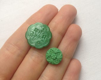 2 vintage green glass buttons c1940s