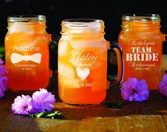 6 Custom Mason Jars - Personalized Rustic Glassware - Bridesmaid - Bridal Shower - Wedding Party Gift - Engraved Glassware - Groomsman Gifts