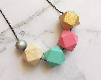 Geo Necklace, Geometric Necklace, Hexagon Necklace, Wooden Bead Necklace, Colourful Necklace, Jewellery, Necklace, Geometric, Geo
