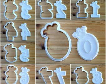 Numbers wearing Crown Cookie Cutter and Stamp