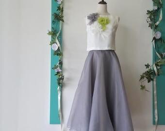 2 piece Prom Dress / Party Dress / Maxi Dress / Dinner Dress / Spring Dress / White, Green, Gray / 2 Piece Dress Set / 2 piece dress