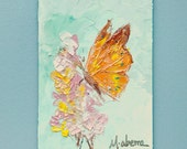 Orange Butterfly // Original Art // by Mandie Aberra // 5 x 7 // Small Oil Painting // Thick Texture