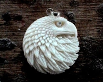 Eagle Head Pendant from carved bone (free Shipping)