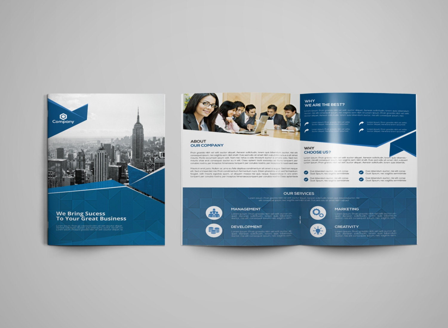 Corporate bifold brochure template marketing brochure for Marketing brochures templates