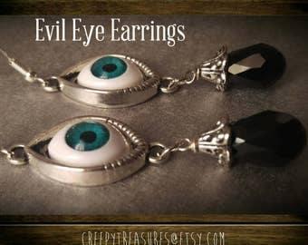 Evil Eye Earrings.  Sterling Silver