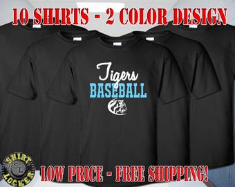10 Baseball Spirit Wear Shirts Any Color Shirts, Any 2 Color Design Fully Customizable and Free Shipping Support Your Team
