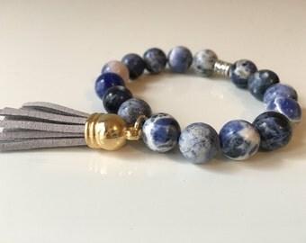 Blue Marble Tassel Bracelet