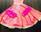 Pink Girls Silk Gown/ Girls Indian Wear/ Girls floor length Dress