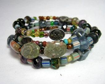 Blue Hue Beads Memory Wire Wrap Bracelet