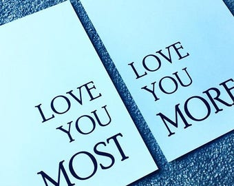 Love you most and Love you more wall print typography home decor