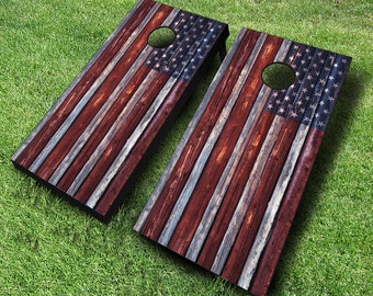 Country American Rustic Cornhole Boards